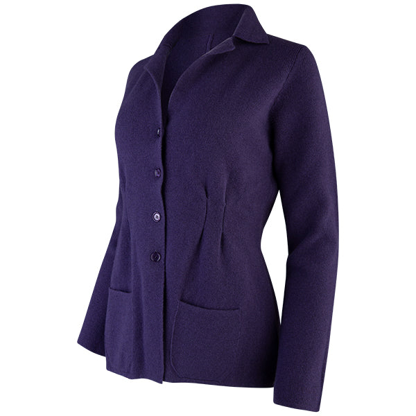 Pleated Front Blazer in Grape