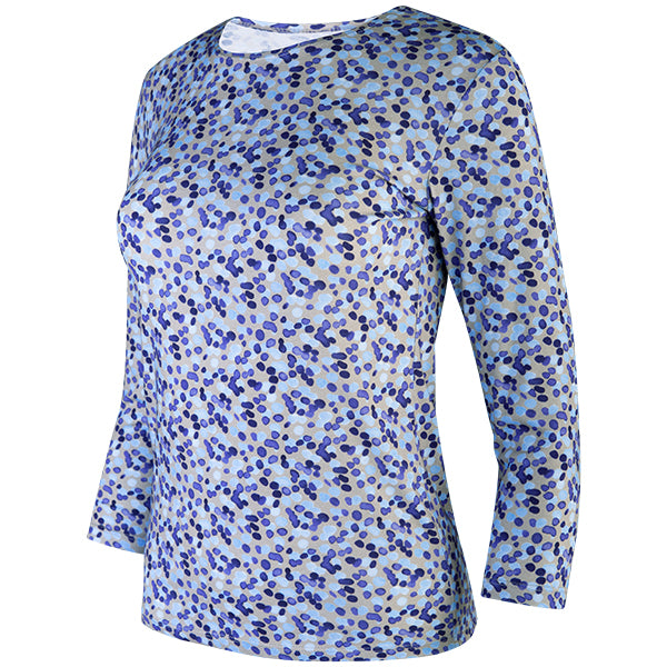 3/4 Sleeve Knit Tee in Water Dots Purple/Grey