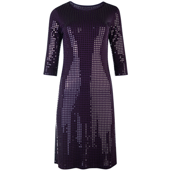 Sequin 3/4 Length Sleeve Dress in Dark Grape