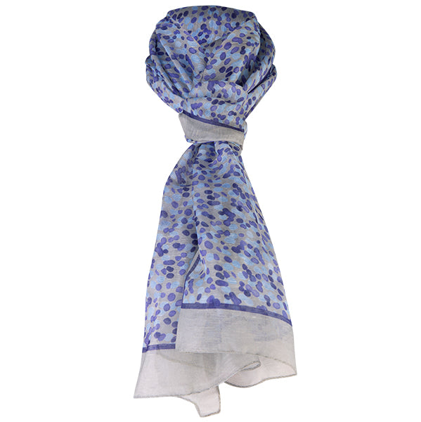 Printed Modal Linen Silk Scarf in Water Dots Purple/Grey