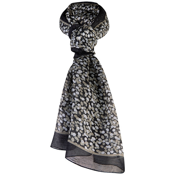 Printed Modal Linen Silk Scarf in Water Dots Taupe/Black