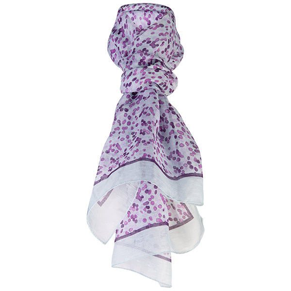 Printed Modal Linen Silk Scarf in Water Dots Merlot/Lt Grey