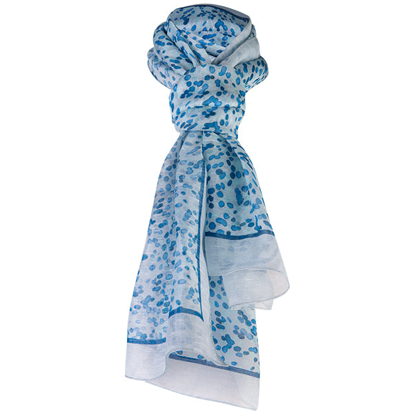 Printed Modal Linen Silk Scarf in Water Dots Teal/Grey