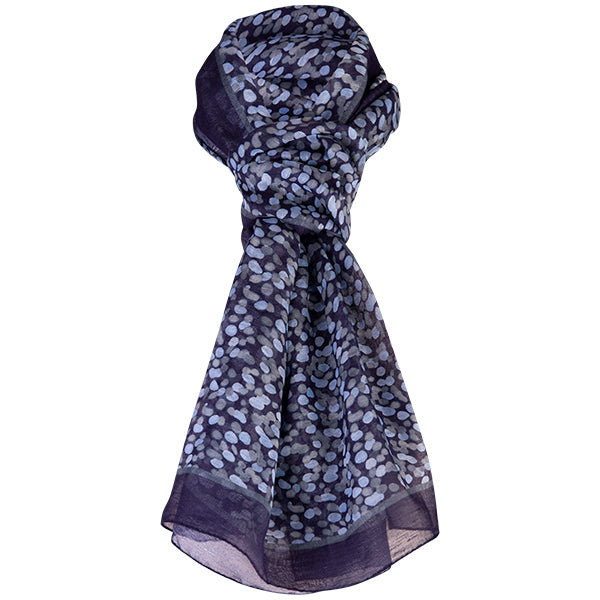 Printed Modal Linen Silk Scarf in Water Dots Lt Blue-Grey/Navy