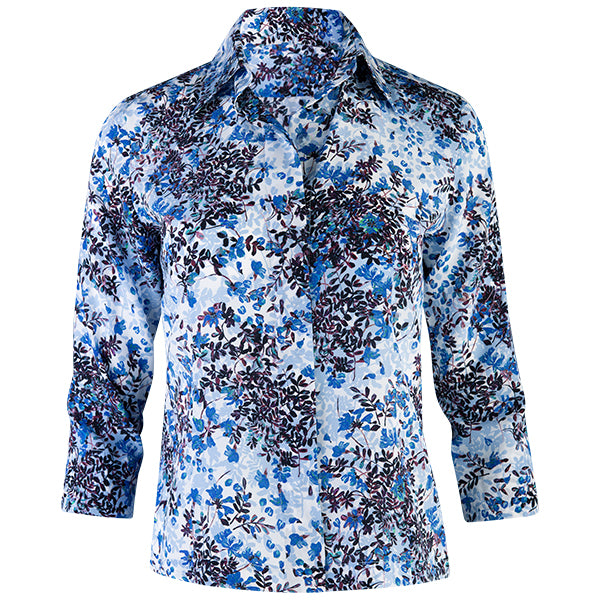 3/4 Sleeve Hidden Placket Shirt in Floral Beauty