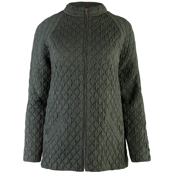 Quilted Jacket Cardigan in Army Green