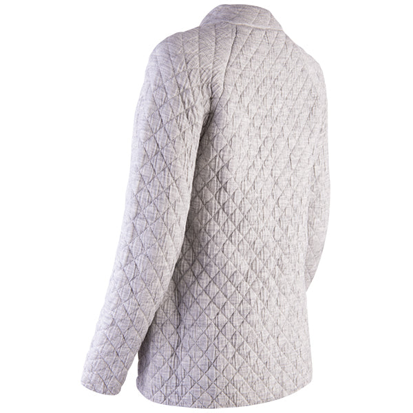 Quilted Jacket Cardigan in Light Grey
