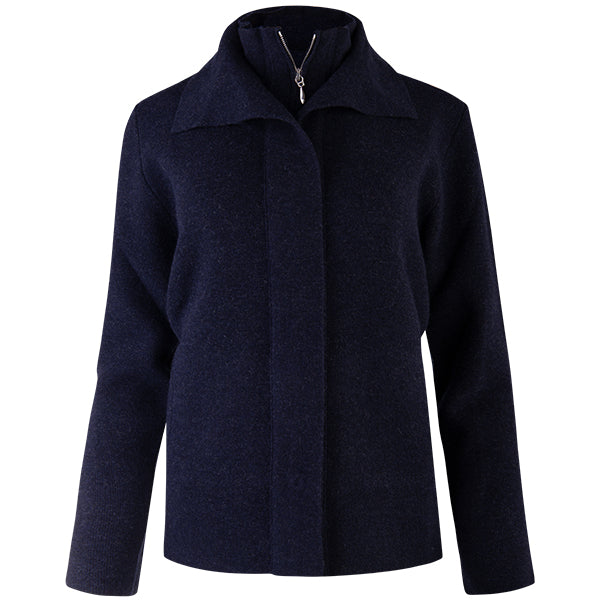 Double Collar Zip Front Cardigan in Dark Navy