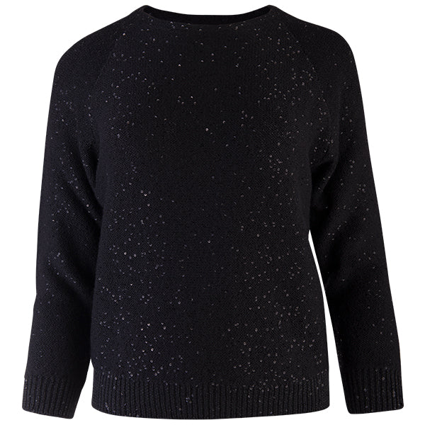 Sequin Crewneck Raglan Pullover in Black