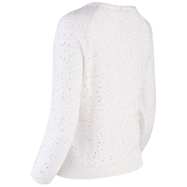 Sequin Crewneck Raglan Pullover in White