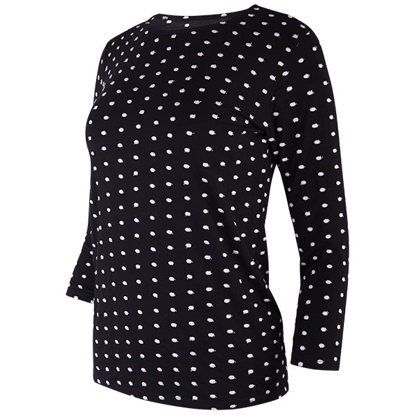 Embroidered Dots Tee in Black