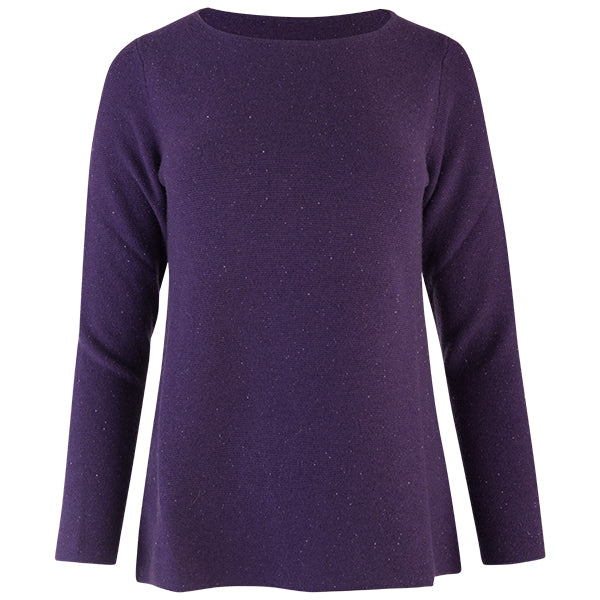 Sequin Round Neck Pullover in Grape