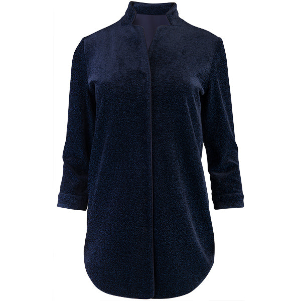 Lurex Notch Collar Tunic in Navy