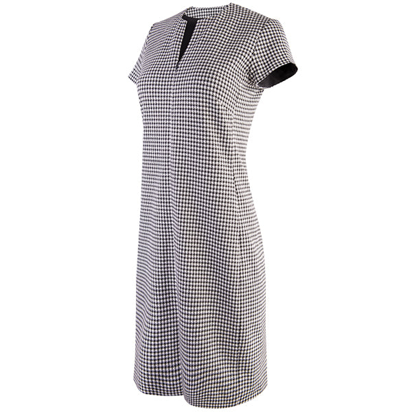 Split Neck Houndstooth Dress in Black/White