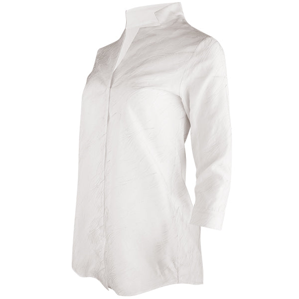 Embroidered Silk Tunic in Ivory