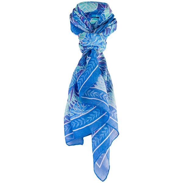 Printed Modal Cashmere Scarf in Blue Palm