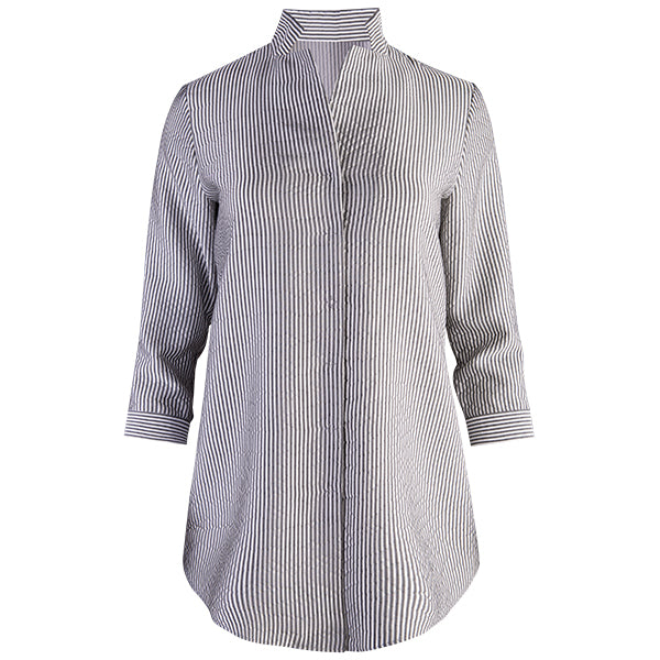 Inverted Notch Collar Tunic in Black/White Stripe