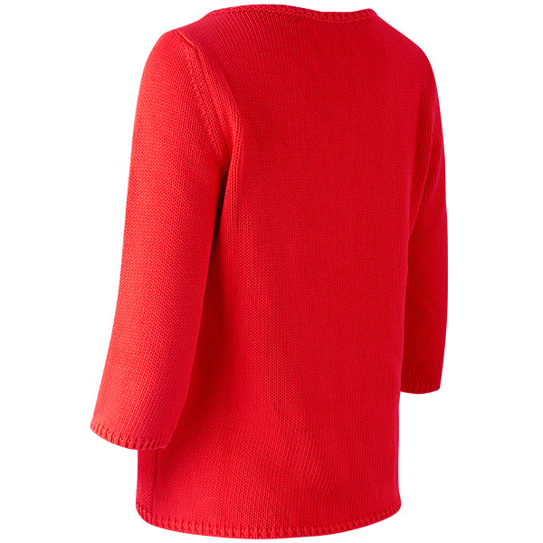 3/4 Sleeve Pullover in Fire Engine Red