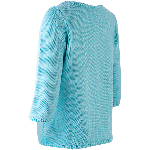 3/4 Sleeve Pullover in Dark Turquoise