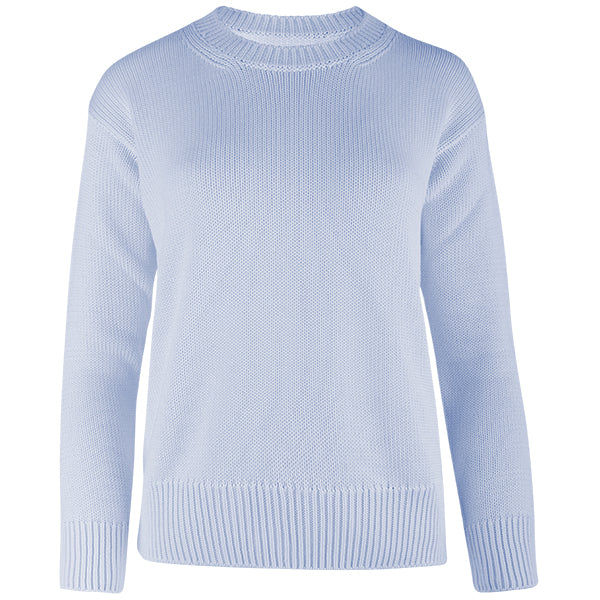Oversized Round Neck Pullover in Light Blue