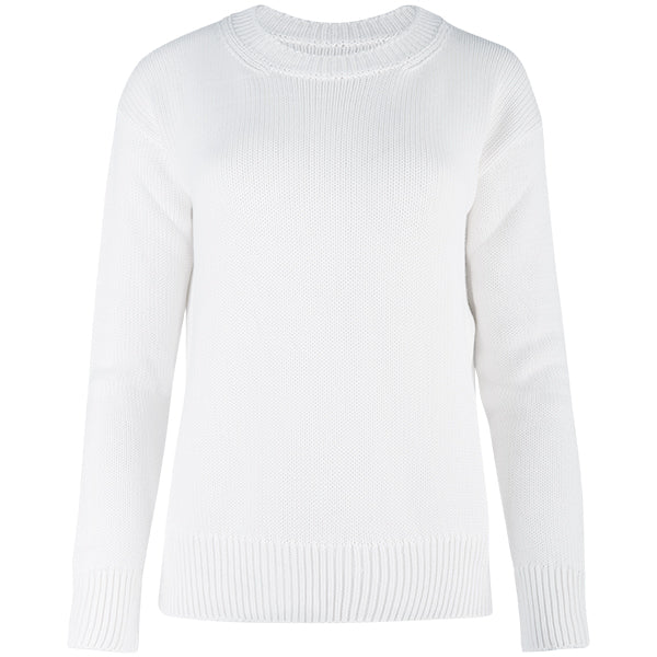 Oversized Round Neck Pullover in White