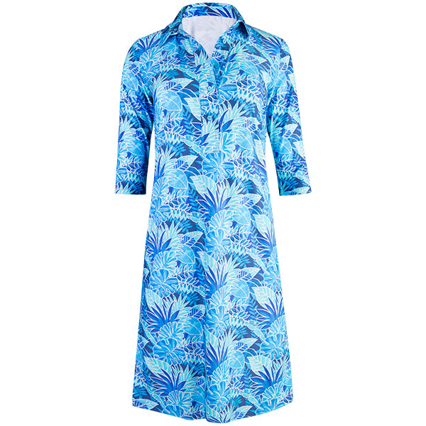 Shirtdress w/ 3/4 Sleeves in Blue Palm
