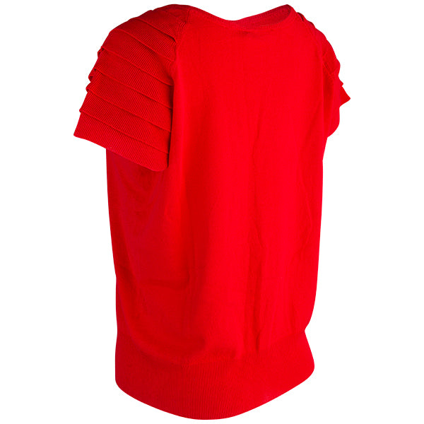 Ruffle Short Sleeve Pullover in Red