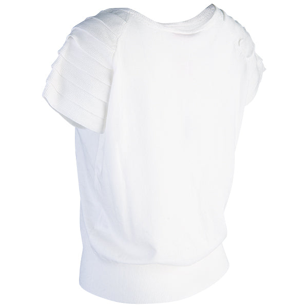 Ruffle Short Sleeve Pullover in White