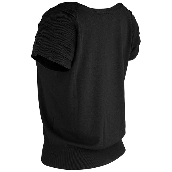 Ruffle Short Sleeve Pullover in Black