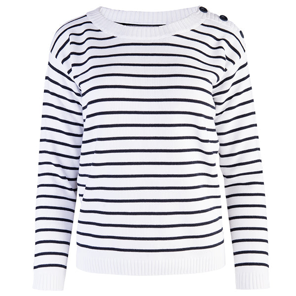 Boatneck Pullover in White/Navy Stripe
