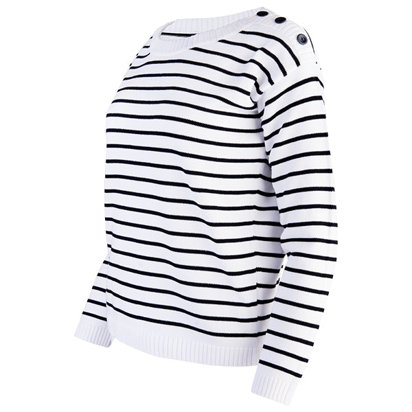 Boatneck Pullover in White/Black Stripe
