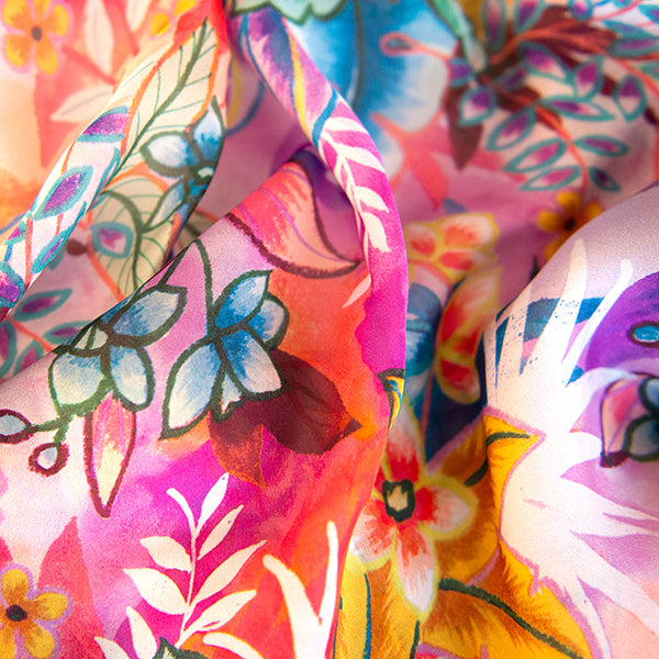 Printed Printed Silk Square Scarf in Lush Tropical