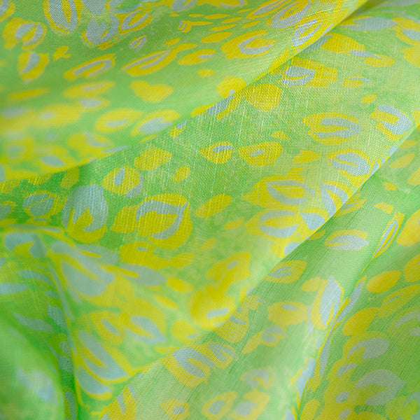 Printed Modal Linen Silk Scarf in Lime Florettes