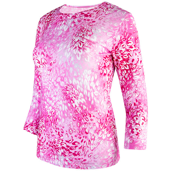 3/4 Sleeve Knit Tee in Pink Florettes