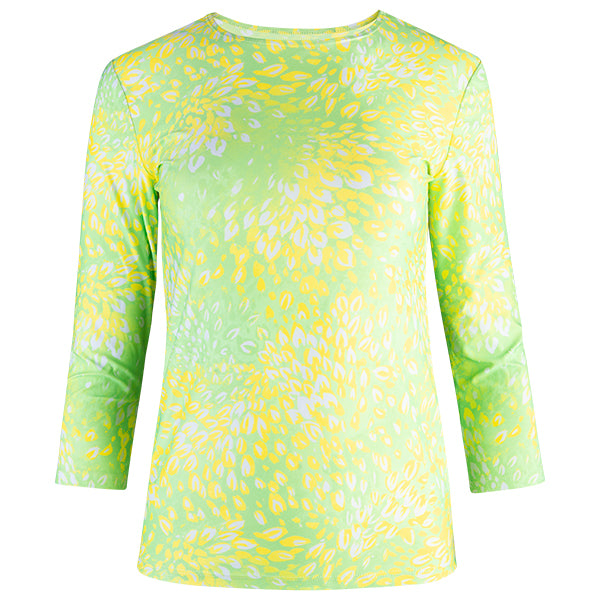 Shaped Knit Tee in Lime Florettes