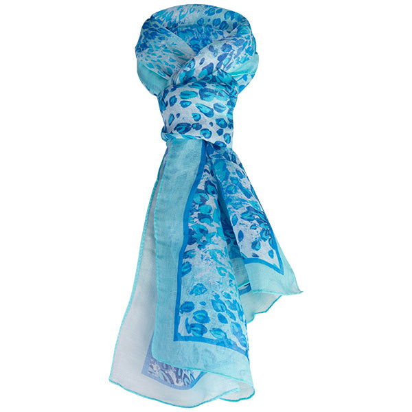 Printed Modal Linen Silk Scarf in Turquoise Florettes