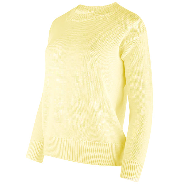 Oversized Round Neck Pullover in Pale Yellow