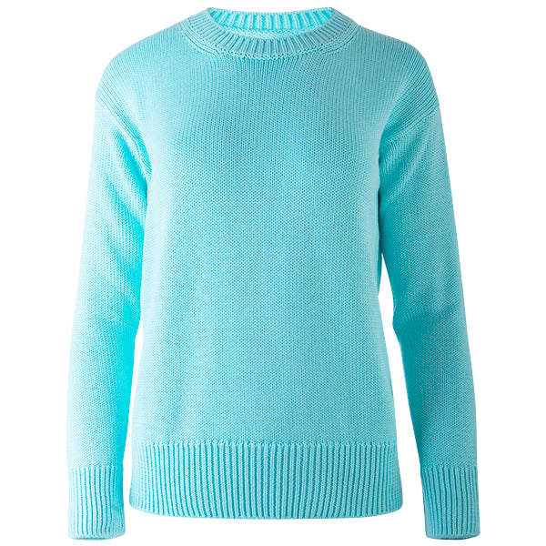 Oversized Round Neck Pullover in Light Turquoise