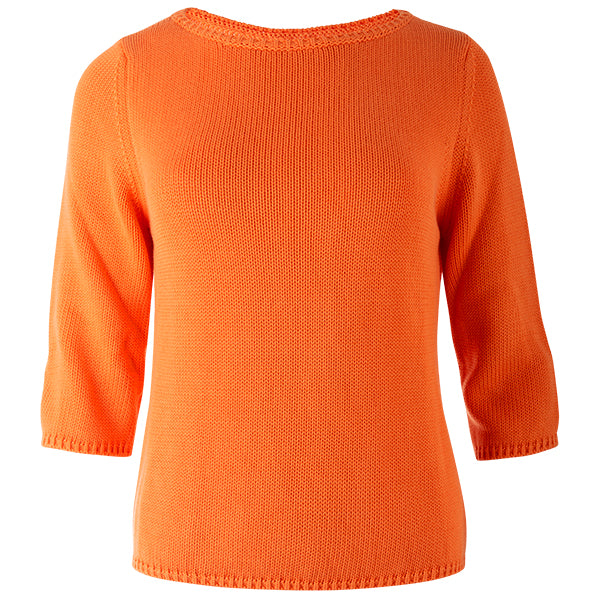 3/4 Sleeve Pullover in Orange.
