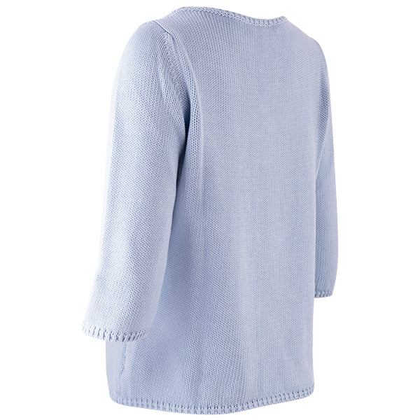 3/4 Sleeve Pullover in Pale Blue
