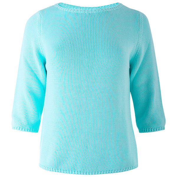 3/4 Sleeve Pullover in Light Turquoise
