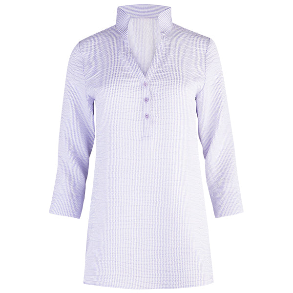 Stripe Polo Collar Tunic in Light Lavender