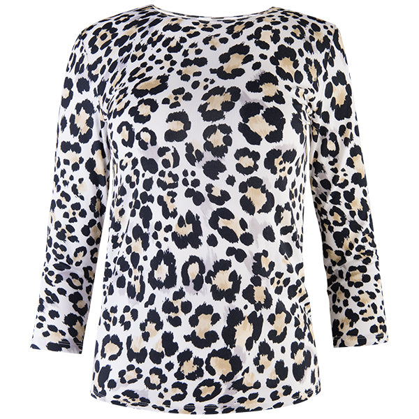 Shaped Knit Tee in Neutral Leopard