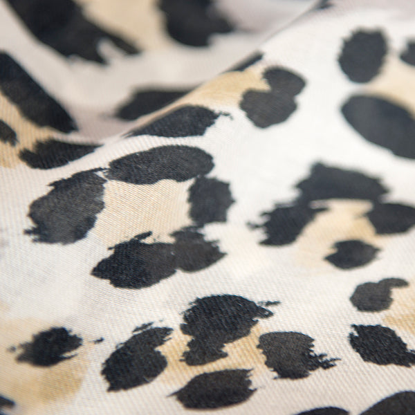 Printed Modal Cashmere Scarf in Neutral Leopard