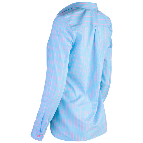 French Pocket Pinstripe Shirt in Light Blue/Pink Stripe