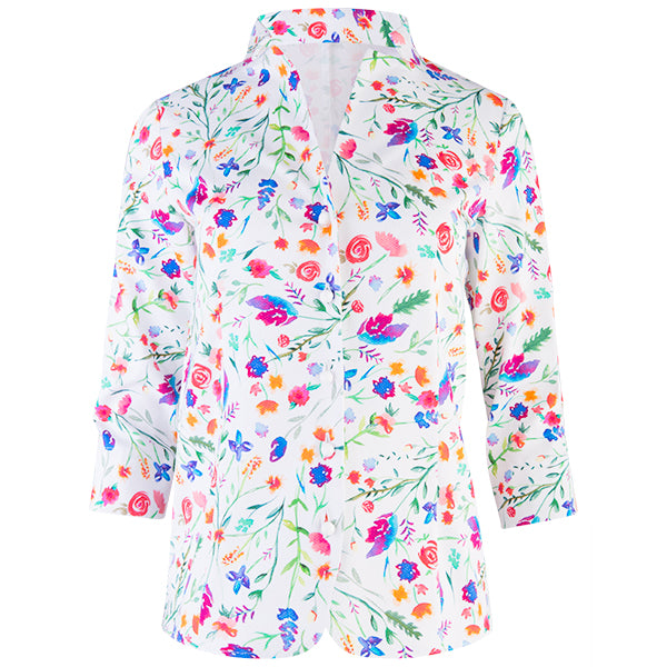 Inverted Notch Collar Pique Shirt in Field Florals