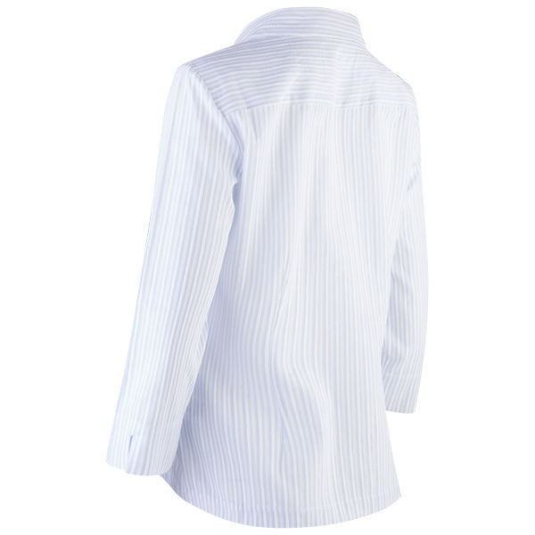 3/4 Slv Hidden Placket Shirt in Lt Blue/White Stripe