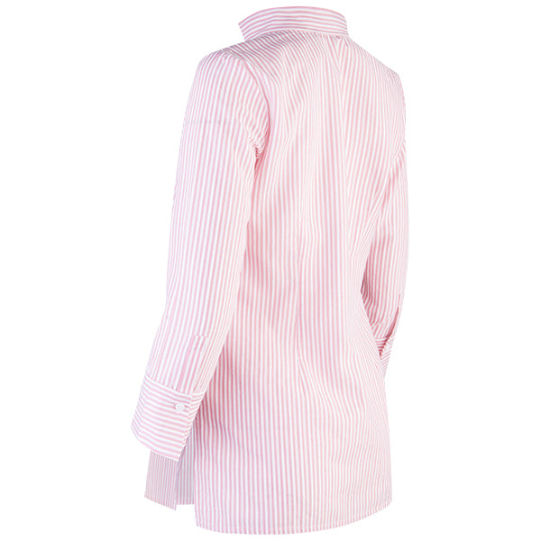 Striped Polo Collar Tunic in Brick Red/White Stripe