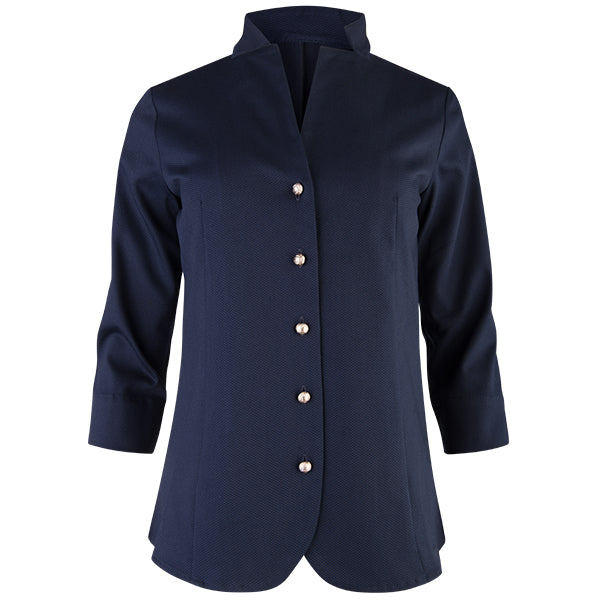 Inverted Notch Collar Pique Shirt in Navy