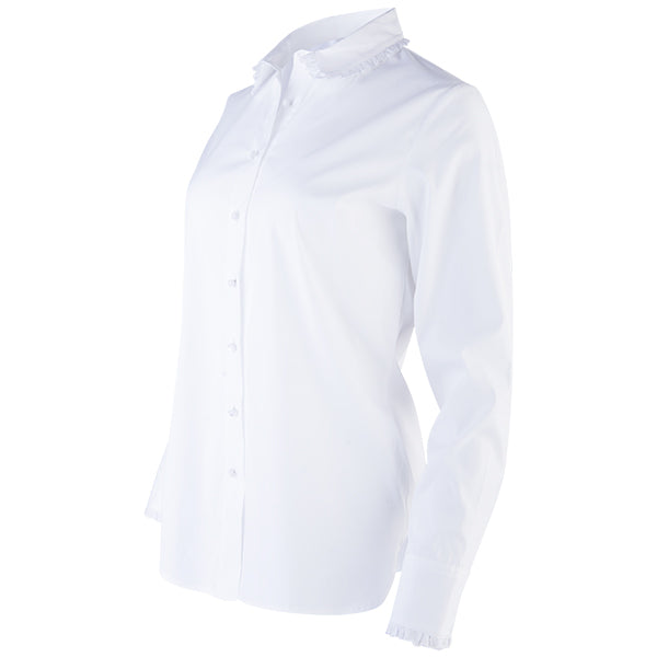 Wide Eyelet Ruffle Edge Shirt in White